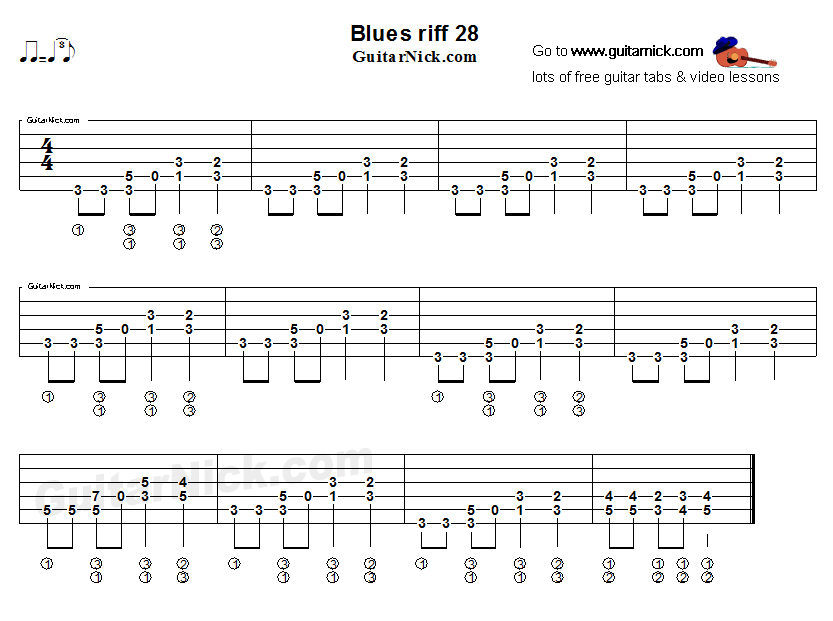 Acoustic flatpicking blues - guitar riff tab 28