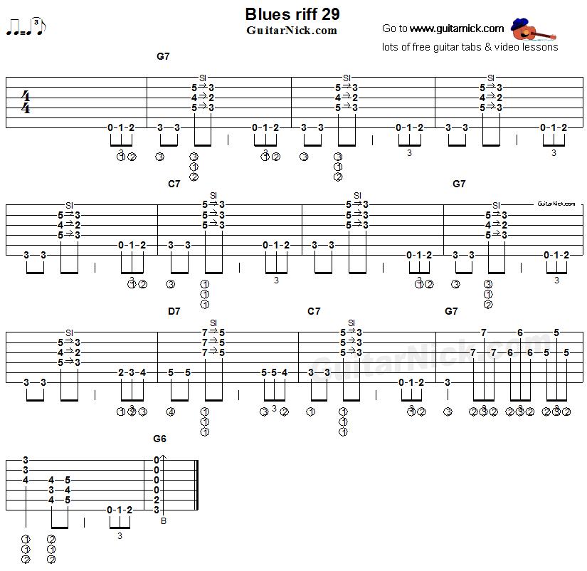 Blues guitar riff 29, acoustic flatpicking - GuitarNick.com