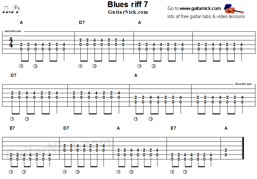 Blues guitar riff 7, acoustic flatpicking - GuitarNick com