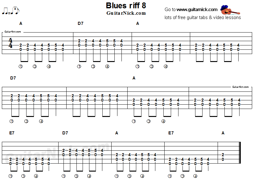 Acoustic flatpicking blues - guitar riff tab 8