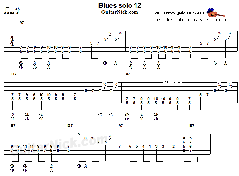 Acoustic flatpicking blues - guitar solo tab 12