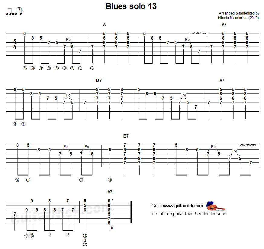 Acoustic guitar tab - blues solo 13