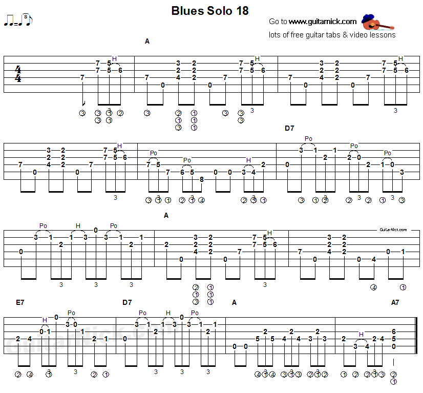 Flatpicking blues tab - acoustic guitar solo 18