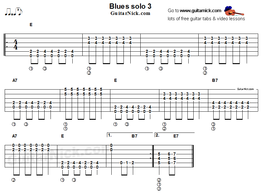Acoustic flatpicking blues - guitar solo tab 3