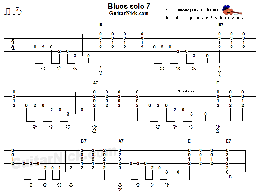 Acoustic flatpicking blues - guitar solo tab 7