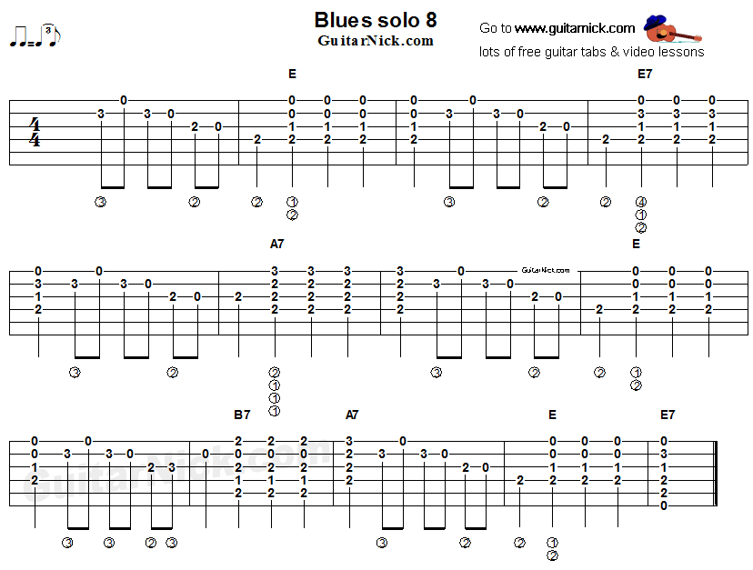 Acoustic flatpicking blues - guitar solo tab 8