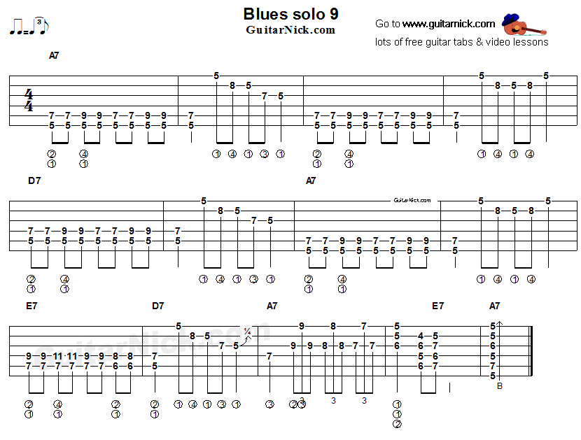 Acoustic flatpicking blues - guitar solo tab 9