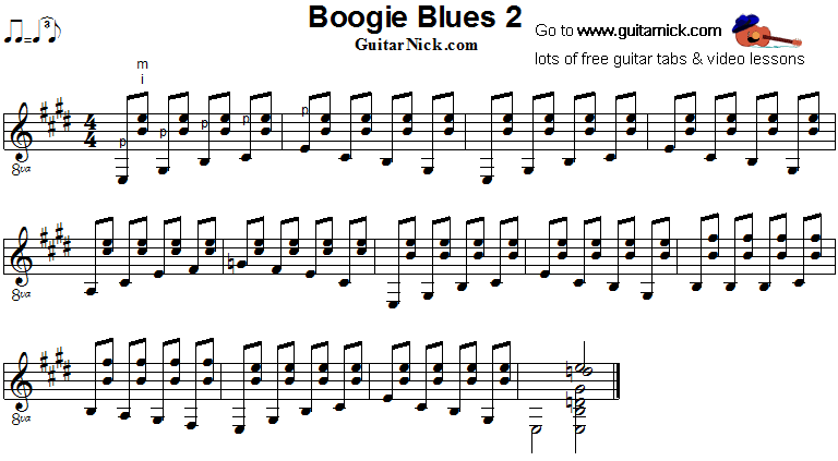 Boogie Blues 2 - fingerstyle guitar sheet music