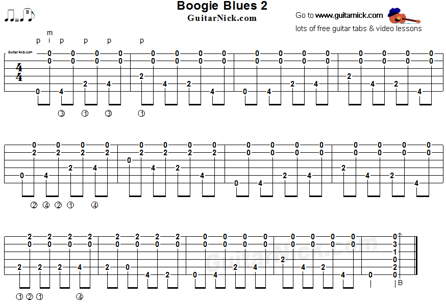 Boogie Blues 2 - fingerstyle guitar tab