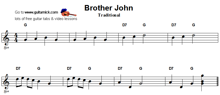Brother John: easy guitar sheet music