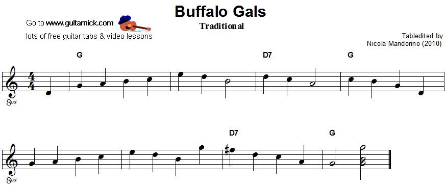 Buffalo Gals - easy guitar sheet music