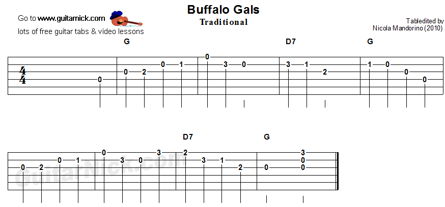 Buffalo Gals - easy guitar tablature