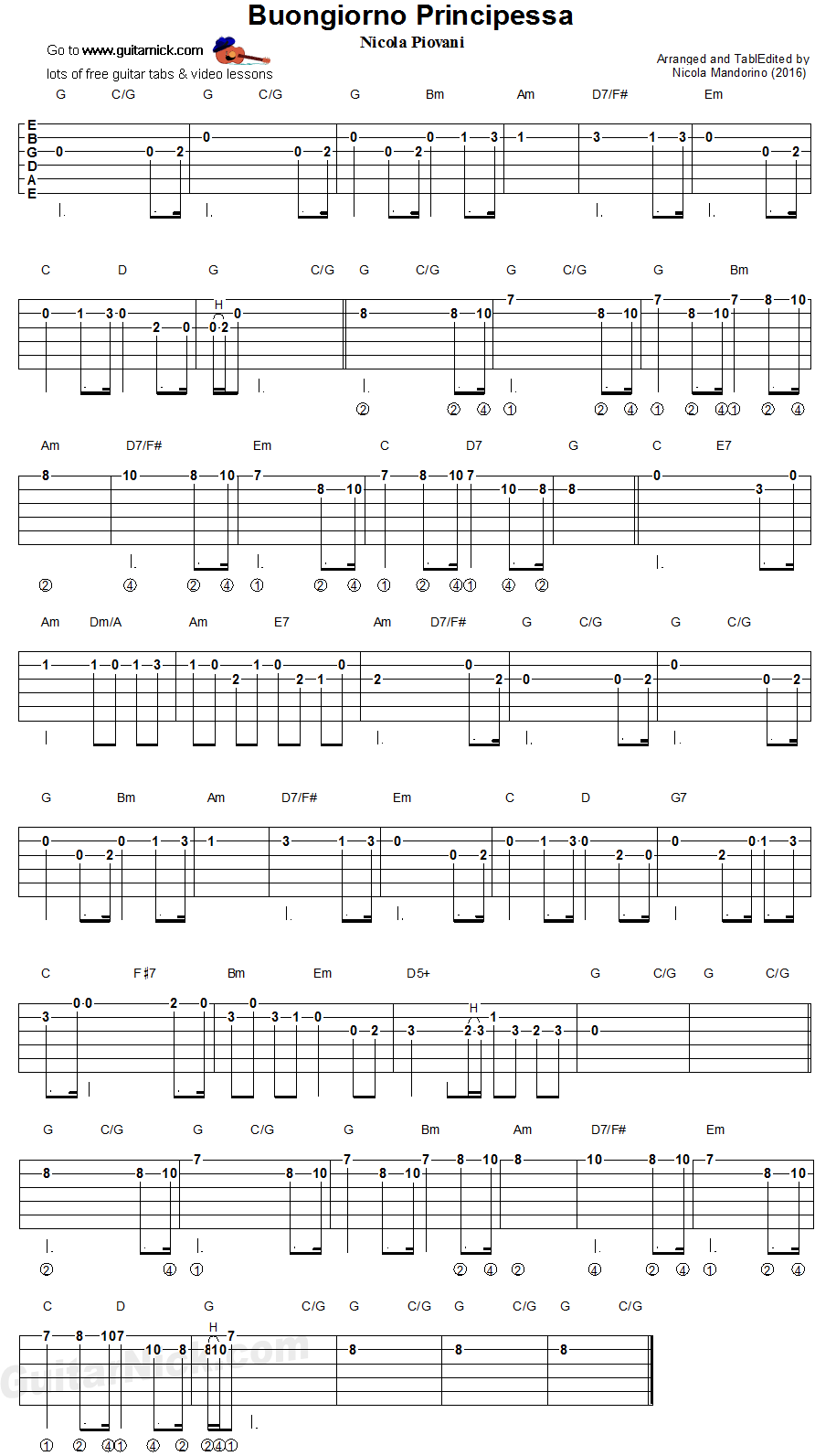Buongiorno Principessa - easy guitar tablature