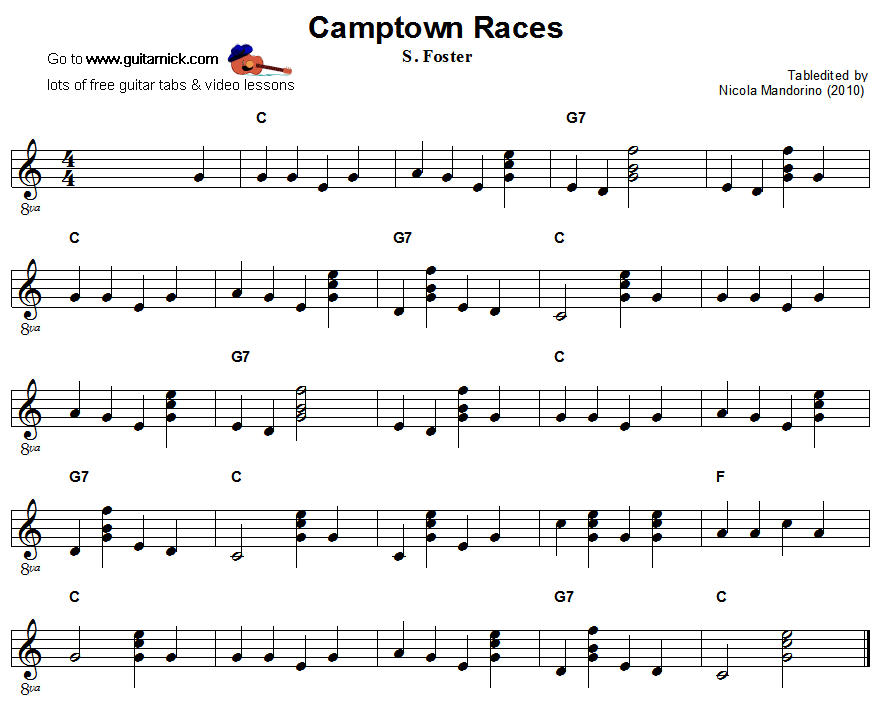 Camptown Races: easy guitar sheet music