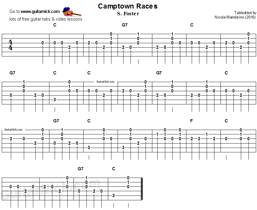 CAMPTOWN RACES Easy Guitar Lesson: GuitarNick.com