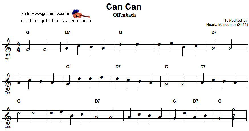 Can Can - easy guitar sheet music
