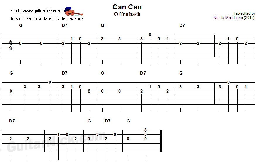 Can Can - easy guitar tablature
