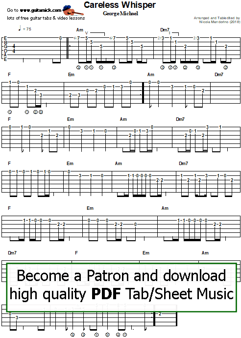 Careless Whisper by George Michael - easy guitar tab