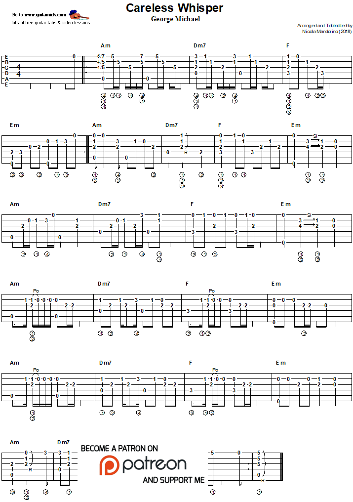 Careless Whisper - fingerstyle guitar tab