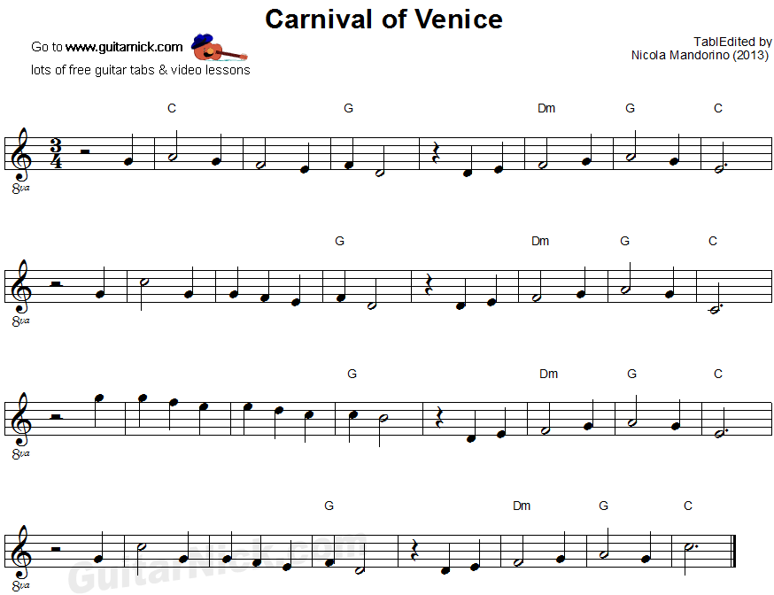 Carnival of Venice - easy guitar sheet music