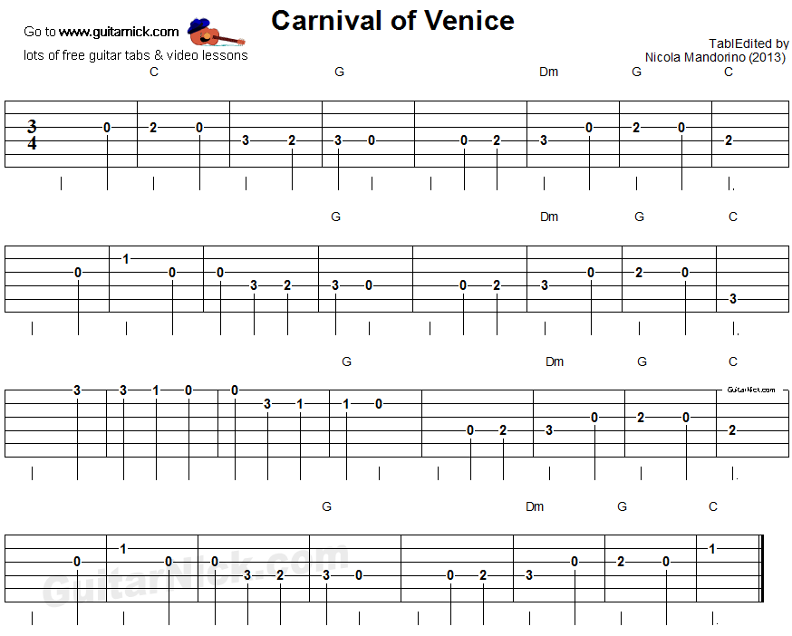 Carnival of Venice - easy guitar tablature