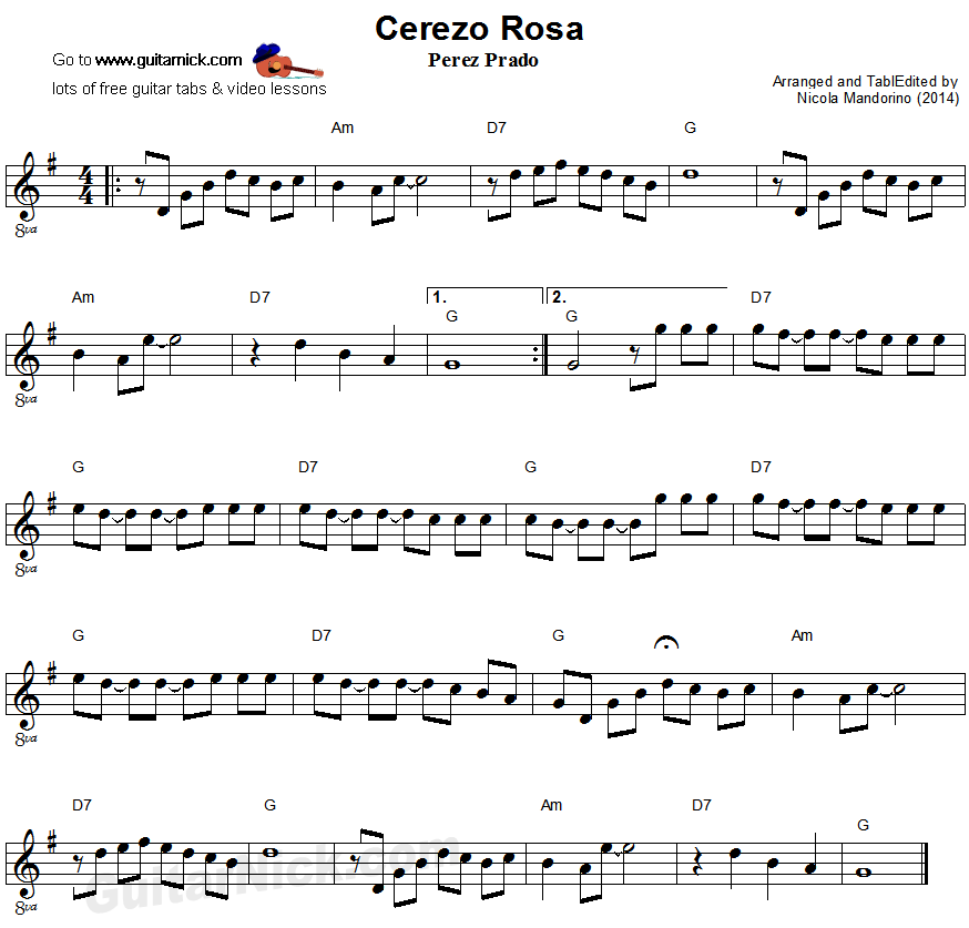 Cerezo Rosa: easy guitar sheet music
