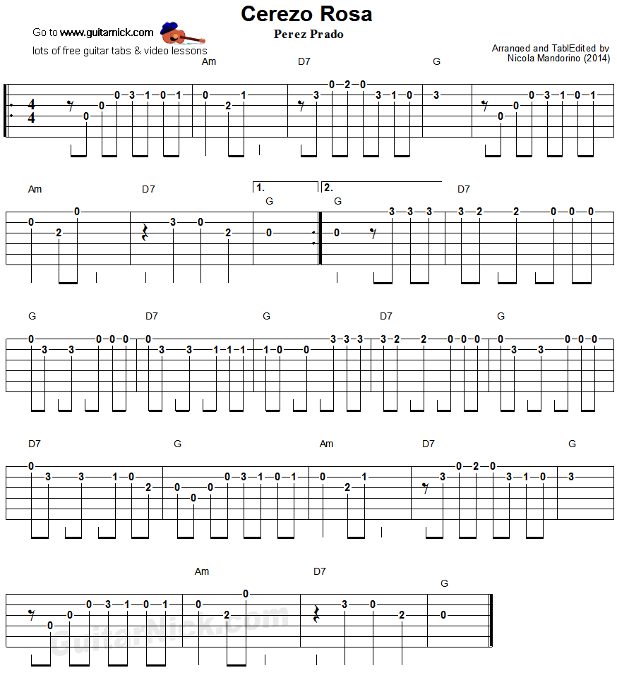 Cerezo Rosa: easy guitar tablature