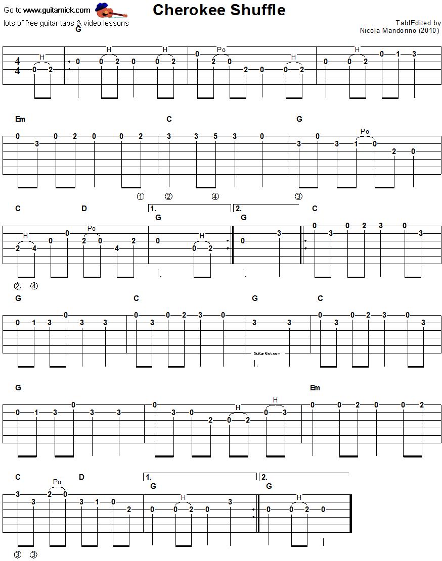 Cherokee Shuffle: sheet music + guitar TAB - GuitarNick.com