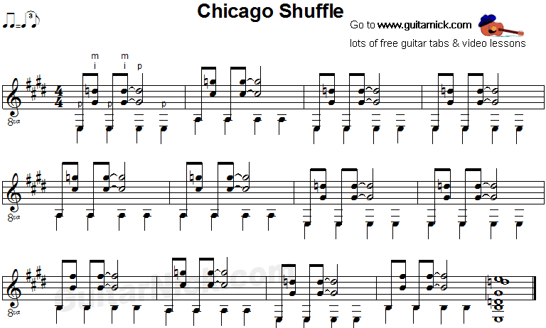 Chicago Shuffle - fingerstyle blues guitar sheet music