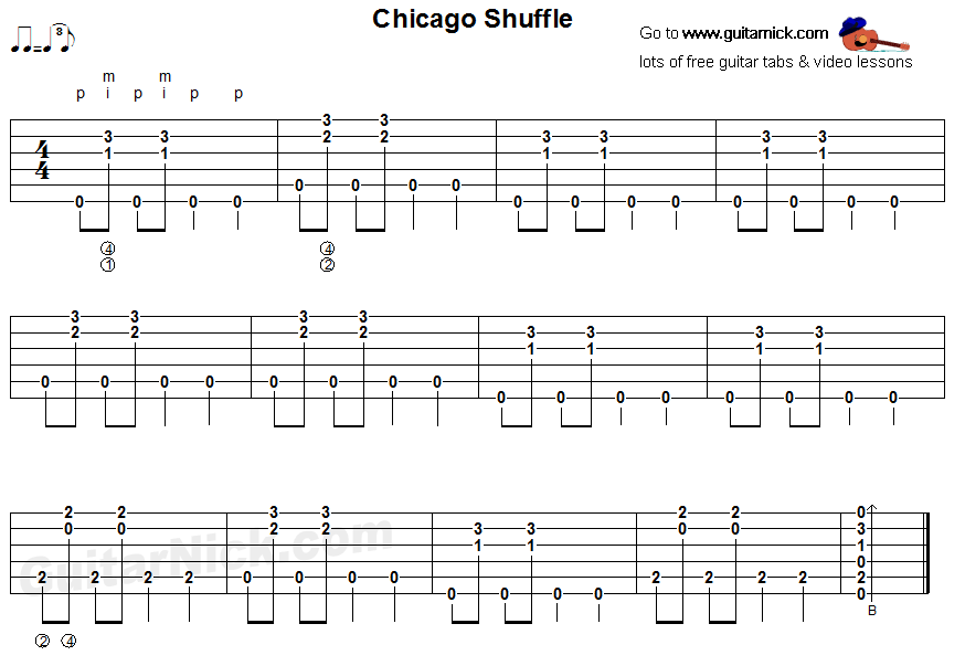 Chicago Shuffle - fingerstyle blues guitar tab