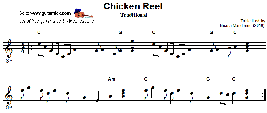 Chicken Reel - easy guitar sheet music