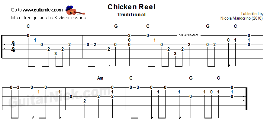 CHICKEN REEL Easy Guitar Lesson: GuitarNick.com