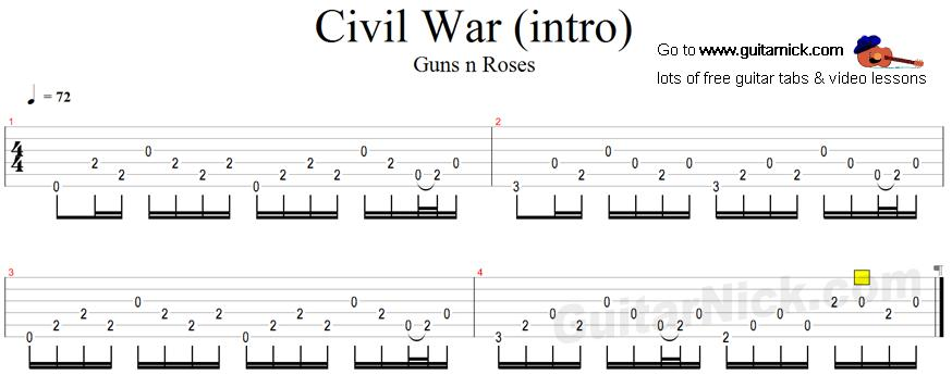 civil war guitar tab. Black Bedroom Furniture Sets. Home Design Ideas