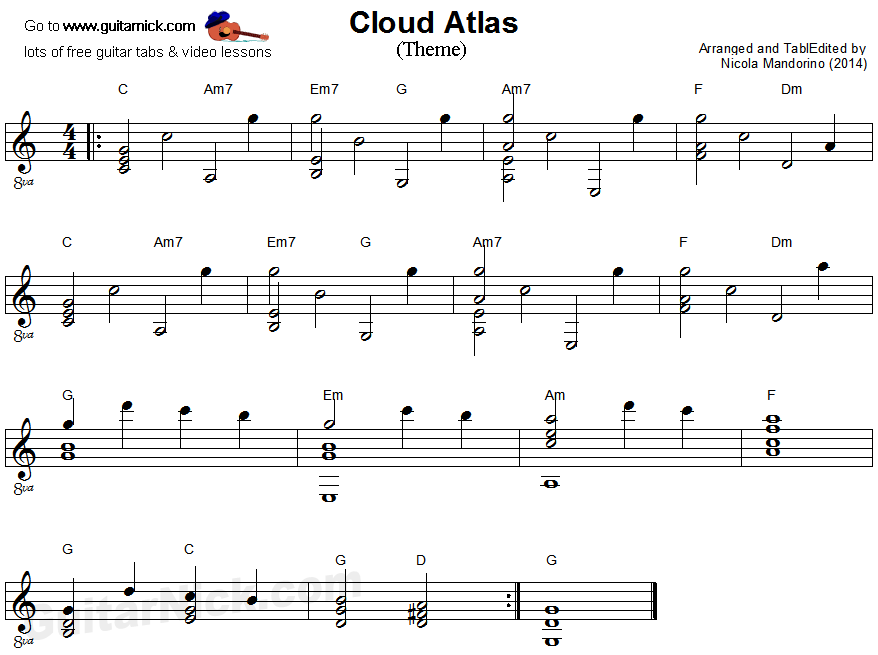 Cloud Atlas - fingerstyle guitar sheet music