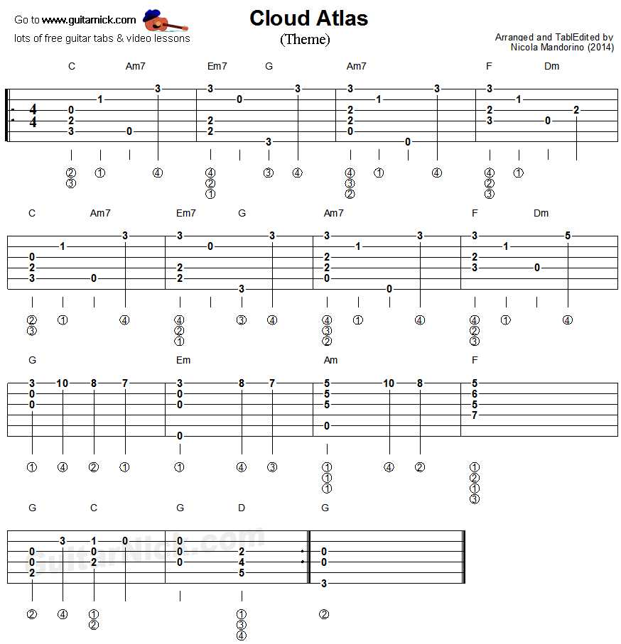 Cloud Atlas - fingerstyle guitar tablature