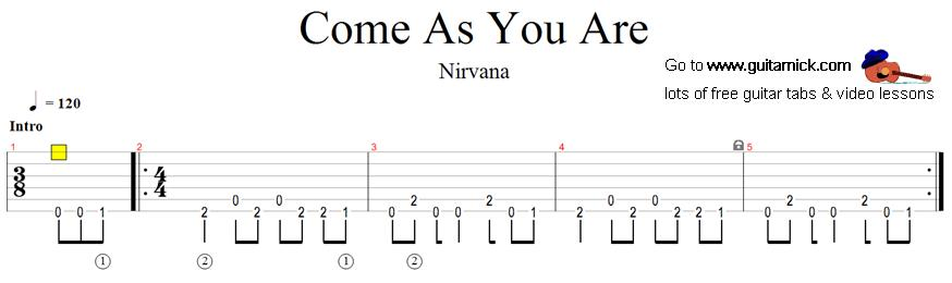 Come As You Are: guitar tab - GuitarNick.com