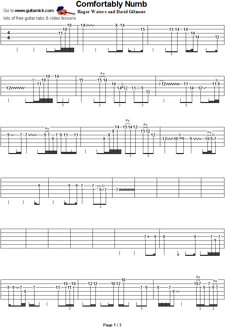 Comfortably Numb - guitar solo tab 1
