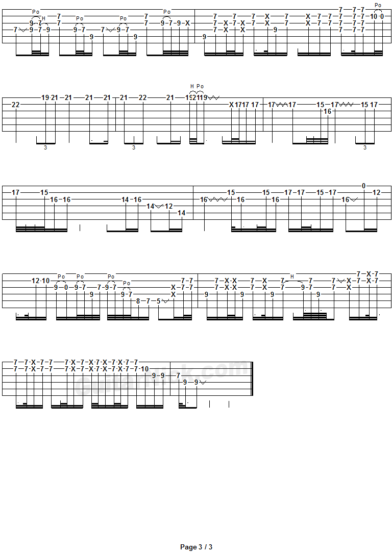 Comfortably Numb - guitar solo tab 3