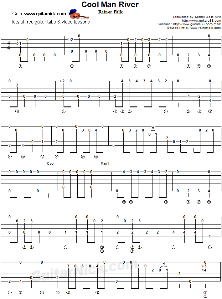 Cool Man River - fingerstyle guitar tab