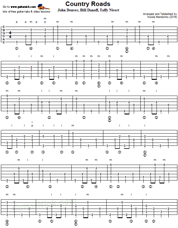 Country Roads - fingerpicking guitar tab 1