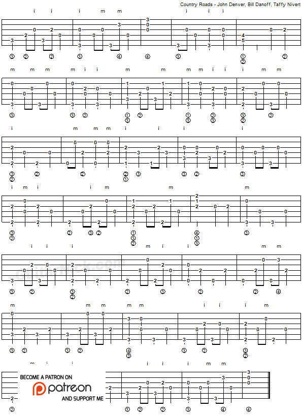 Country Roads - fingerpicking guitar tab 2