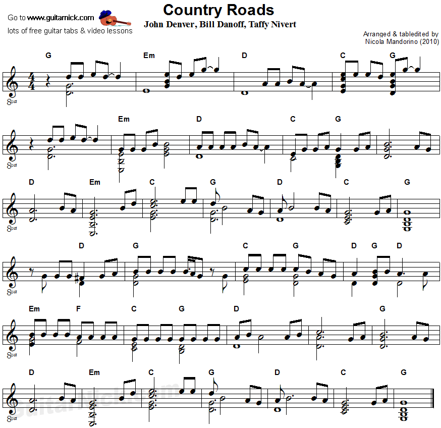 Country Roads - flatpicking guitar sheet music