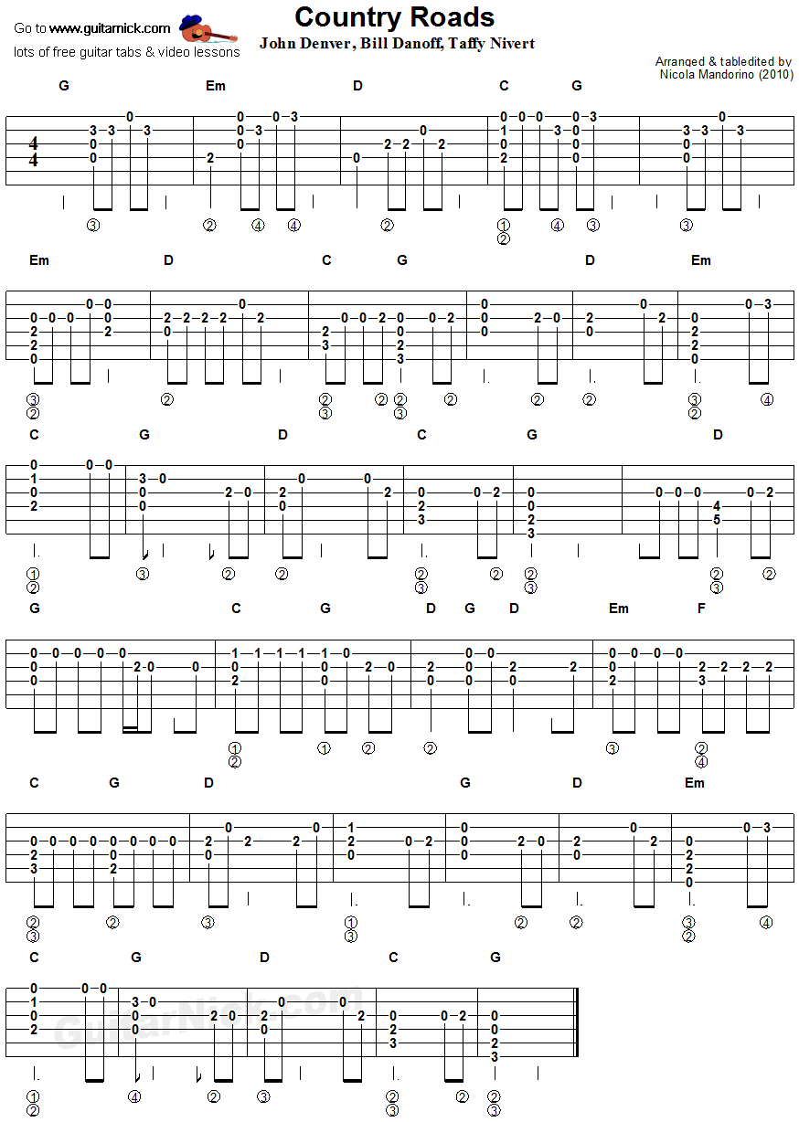 Country Roads - flatpicking guitar tablature