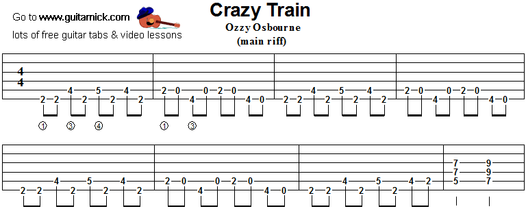 Guitar crazy train guitar tabs : CRAZY TRAIN Guitar Tab: GuitarNick.com