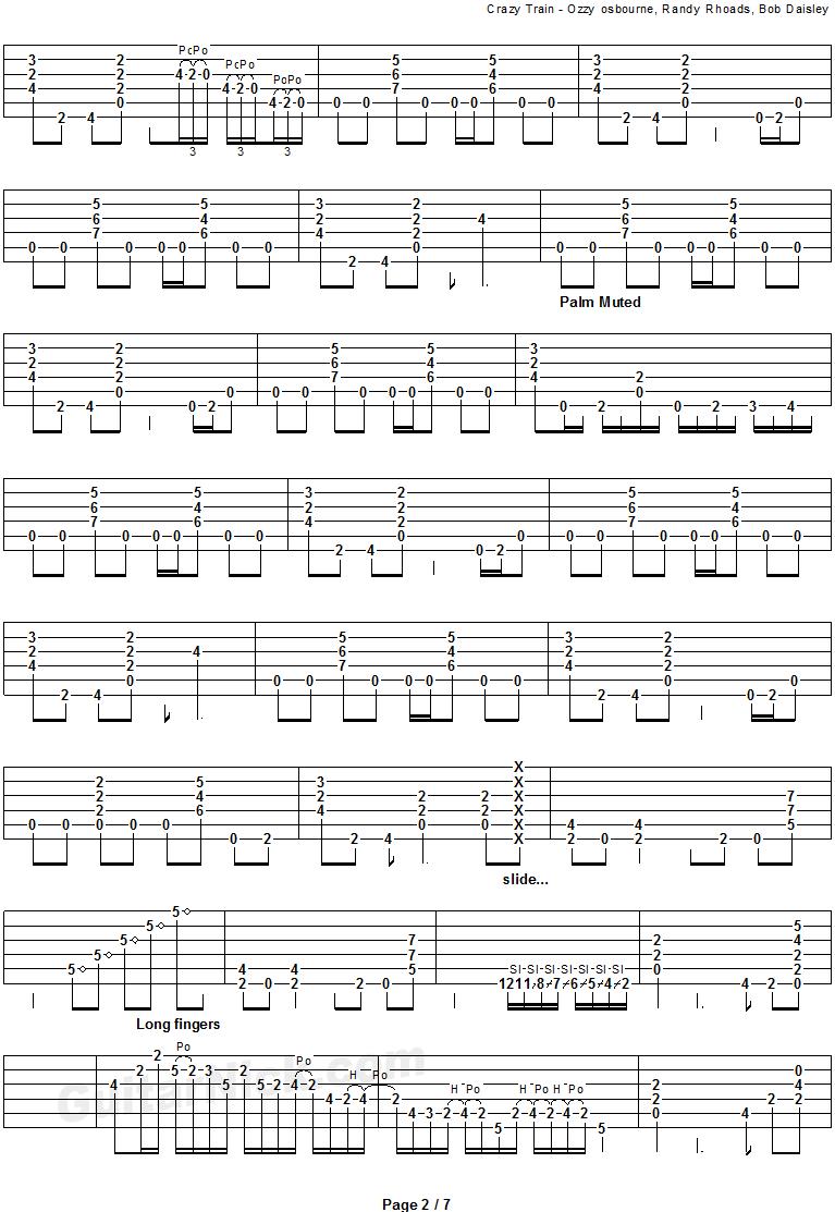 CRAZY TRAIN Guitar Tab: GuitarNick.com