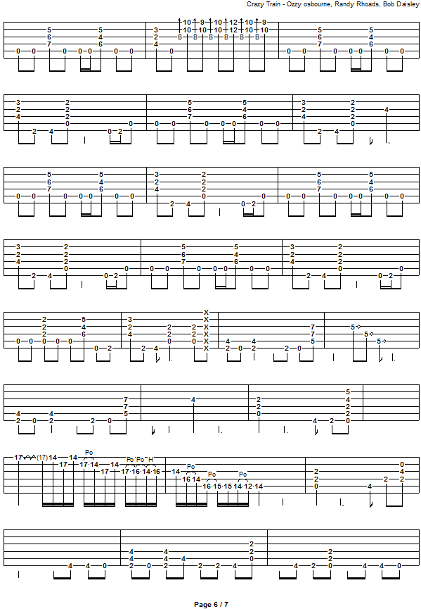 All Music Chords crazy sheet music : CRAZY TRAIN Guitar Tab: GuitarNick.com