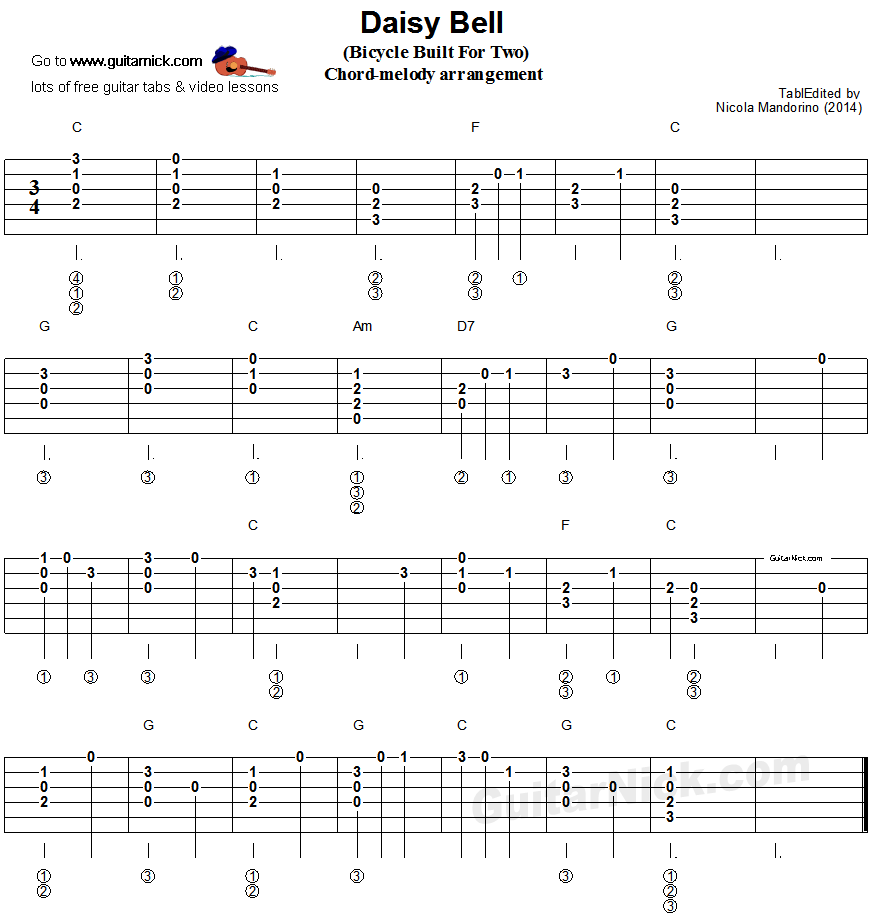 Daisy Bell (Bicycle Built For Two) - flatpicking guitar tablature