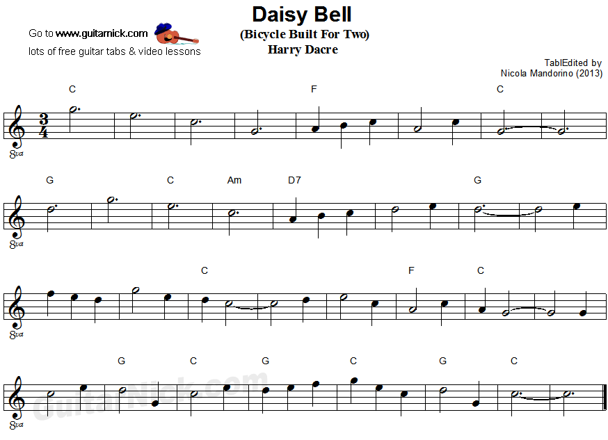 Daisy Bell (Bicycle Built For Two) - easy guitar sheet