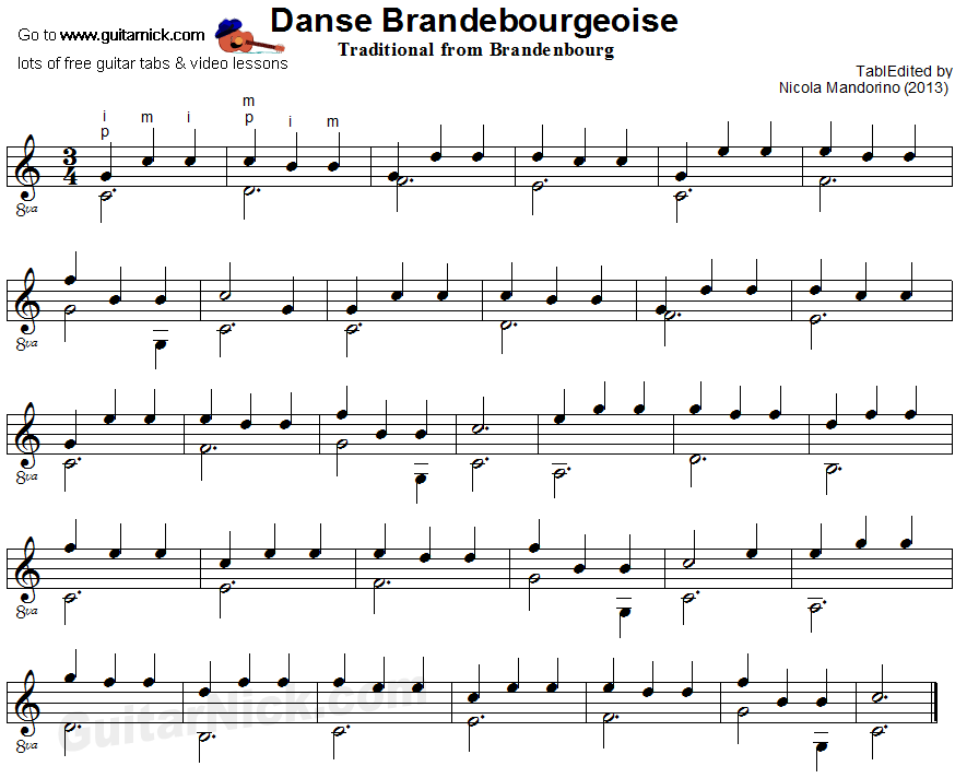 Danse Brandebourgeoise - classical guitar sheet music