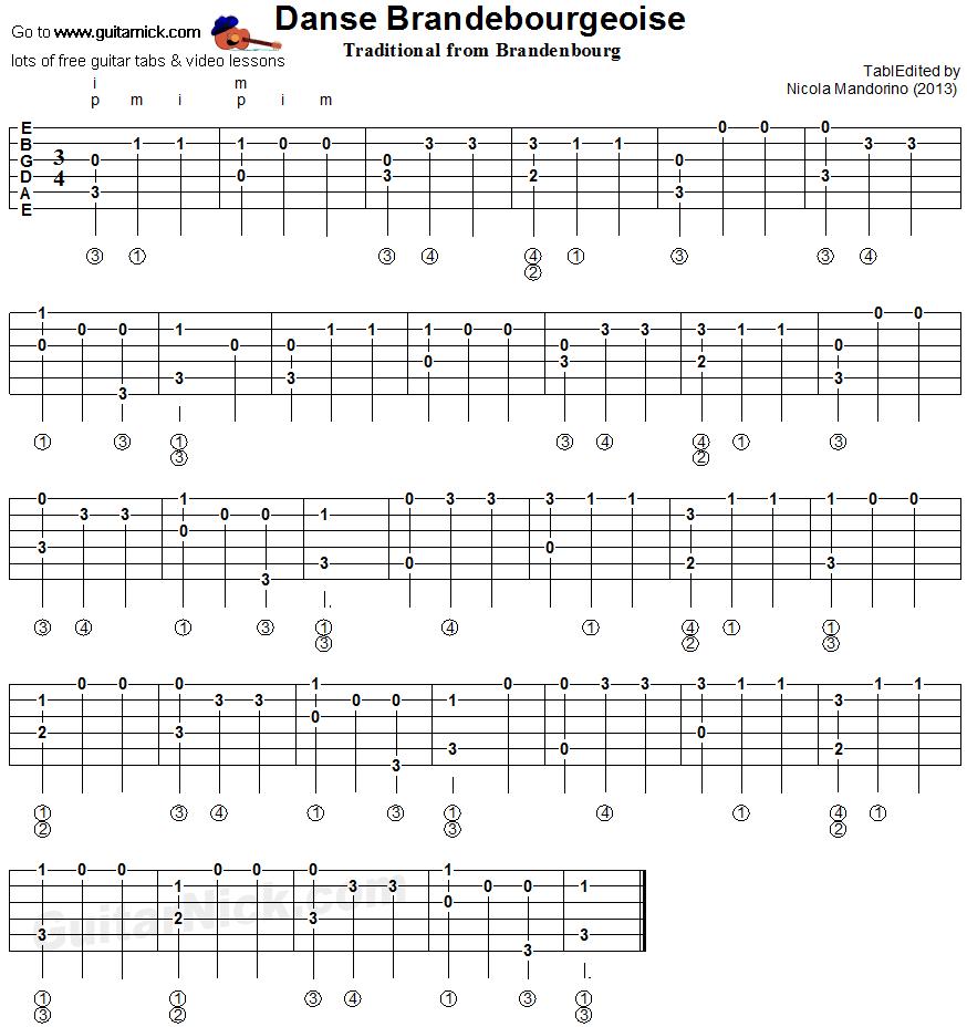 DANSE BRANDEBOURGEOISE Classical Guitar Tab: GuitarNick.com
